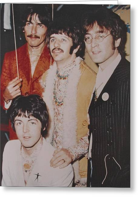 Autographed Photographs Greeting Cards - The Beatles In Color Greeting Card by Donna Wilson