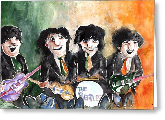 Mccartney Drawings Greeting Cards - The Beatles in Ireland Greeting Card by Miki De Goodaboom