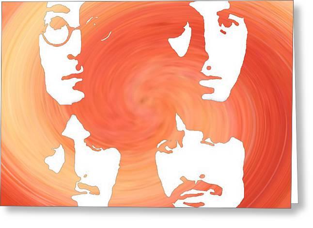 Ringo Starr Images Greeting Cards - The Beatles in Orange Greeting Card by Boghrat Sadeghan