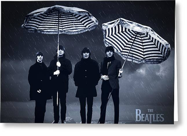 Beatles John Lennon Paul Mccartney George Harrison Ringo Starr Music Rock Icon Greeting Cards - The Beatles in the rain Greeting Card by Aged Pixel