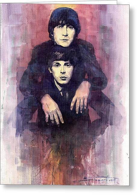 Beatles Paintings Greeting Cards - The Beatles John Lennon and Paul McCartney Greeting Card by Yuriy  Shevchuk