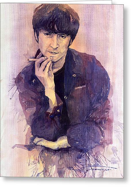 Beatles Paintings Greeting Cards - The Beatles John Lennon Greeting Card by Yuriy  Shevchuk