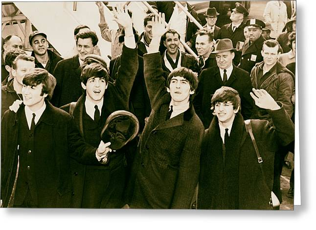 British Celebrities Photographs Greeting Cards - The Beatles Land in America - 1964 Greeting Card by Mountain Dreams