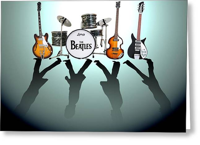 Black Greeting Cards - The Beatles Greeting Card by Lena Day