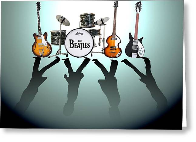 Instruments Greeting Cards - The Beatles Greeting Card by Lena Day