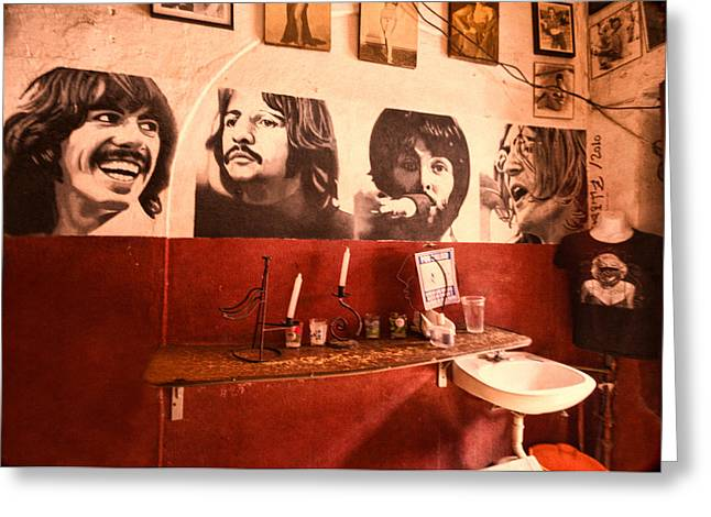 Bar San Miguel Greeting Cards - The Beatles Greeting Card by Lindley Johnson