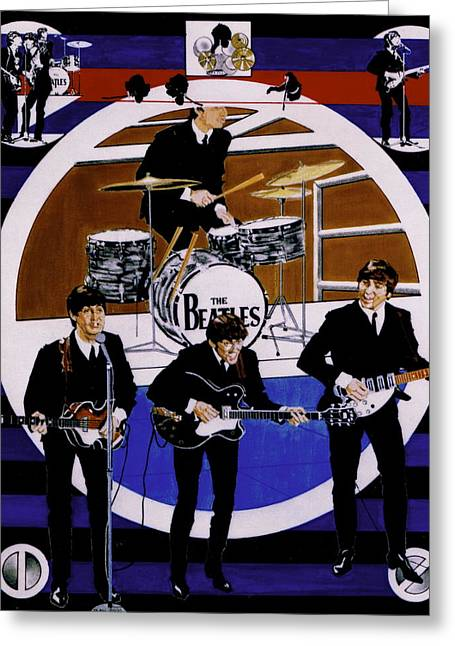 Paul Mccartney Drawings Greeting Cards - The Beatles - Live On The Ed Sullivan Show Greeting Card by Sean Connolly