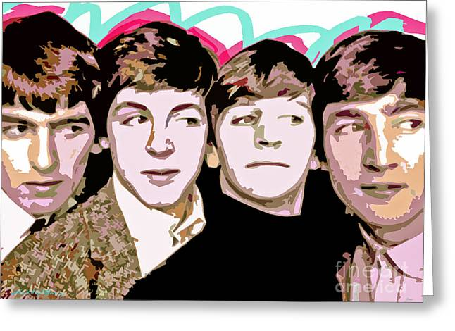 Paul Mccartney Greeting Cards - The Beatles Love Greeting Card by David Lloyd Glover