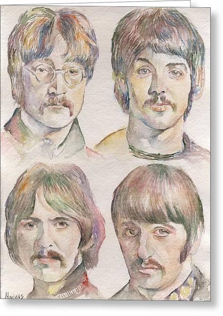 Original Robert Plant Paintings Greeting Cards - The Beatles Greeting Card by Marina Sotiriou
