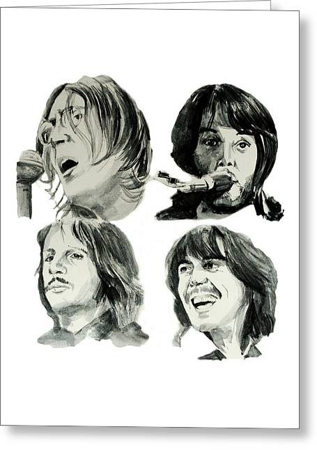 Paul Mccartney Drawings Greeting Cards - The Beatles Greeting Card by MB Art factory