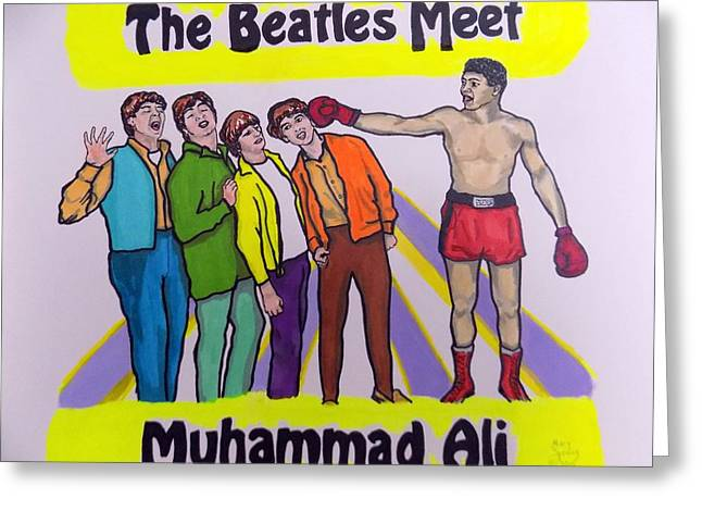 60s Pop Music Mixed Media Greeting Cards - The Beatles Meet Muhammad Ali Greeting Card by Mary Sperling