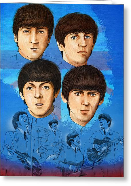 Ringo Starr Greeting Cards - The Beatles Montage One Greeting Card by Joe Winkler