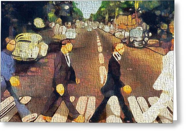 George Harrison Mixed Media Greeting Cards - The Beatles On Canvas Greeting Card by Dan Sproul