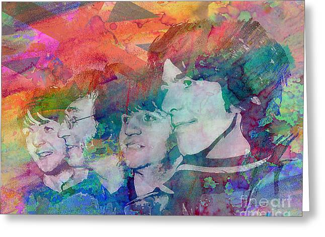 Rock N Roll Greeting Cards - The Beatles Original Painting Print Greeting Card by Ryan RockChromatic