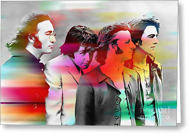 The Beatles Painting Greeting Card by Marvin Blaine