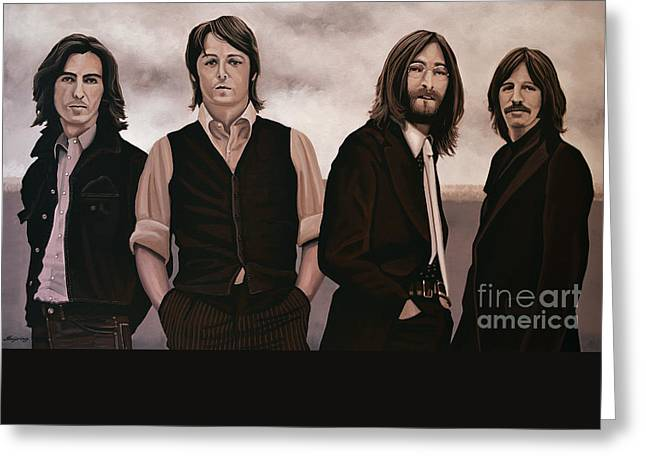 Beatles Paintings Greeting Cards - The Beatles Abbey Road Greeting Card by Paul Meijering