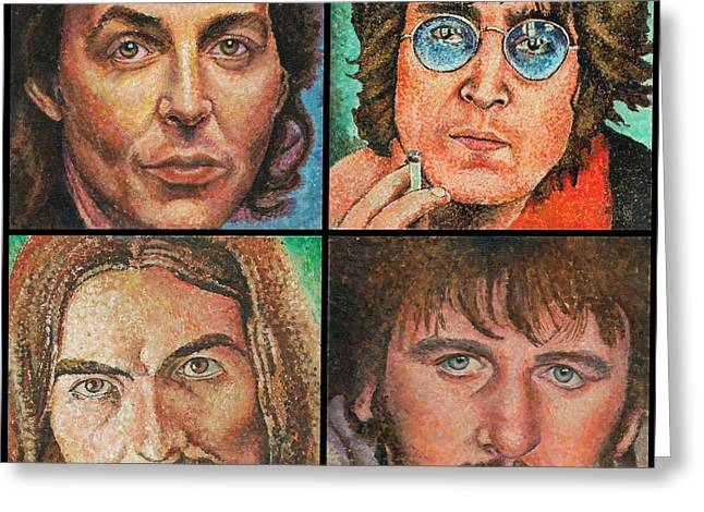 Stippling Paintings Greeting Cards - The Beatles Quad Greeting Card by Melinda Saminski