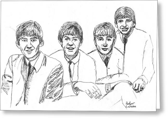 Ringo Starr Drawings Greeting Cards - The Beatles  Greeting Card by Rodger Larson
