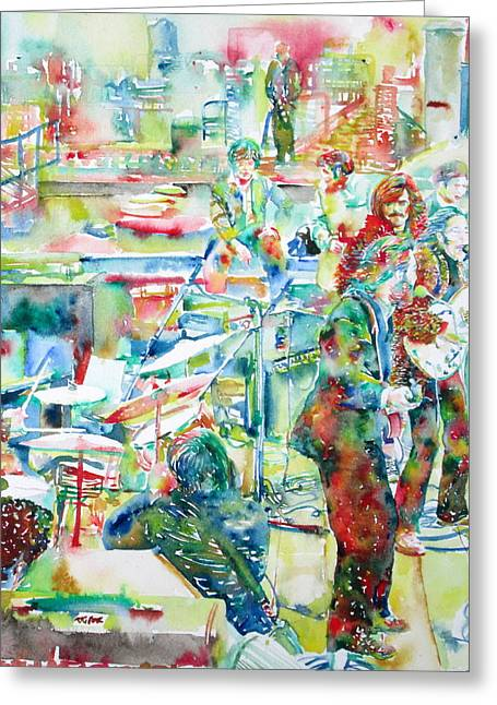 Beatles Paintings Greeting Cards - THE BEATLES ROOFTOP CONCERT - watercolor painting Greeting Card by Fabrizio Cassetta