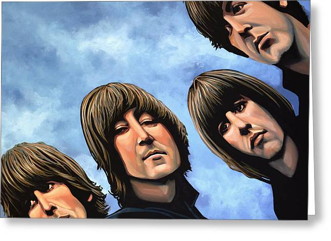 Rock And Roll Paintings Greeting Cards - The Beatles Rubber Soul Greeting Card by Paul Meijering