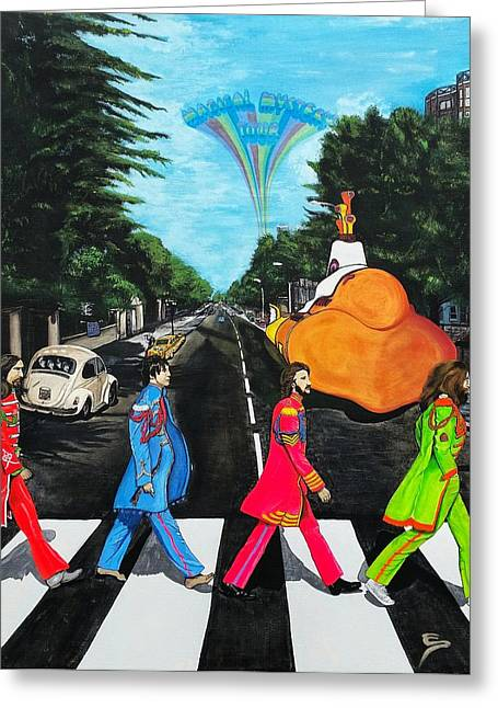 Beatles Canvas Greeting Cards - The Beatles Sgt Peppers Walk On Abby Road Greeting Card by Edward Pebworth