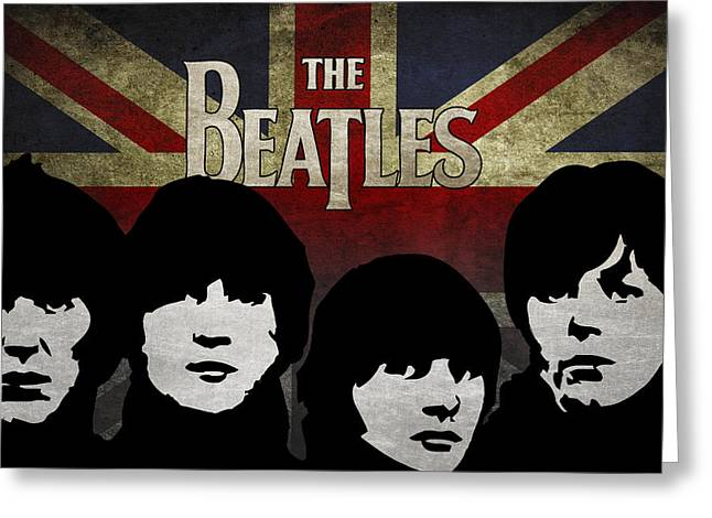 Am I Greeting Cards - The Beatles silhouettes Greeting Card by Aged Pixel