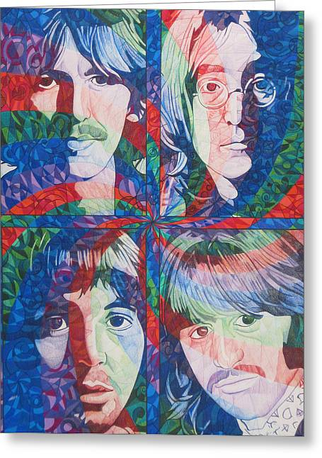 Best Sellers -  - Rocks Drawings Greeting Cards - The Beatles Squared Greeting Card by Joshua Morton