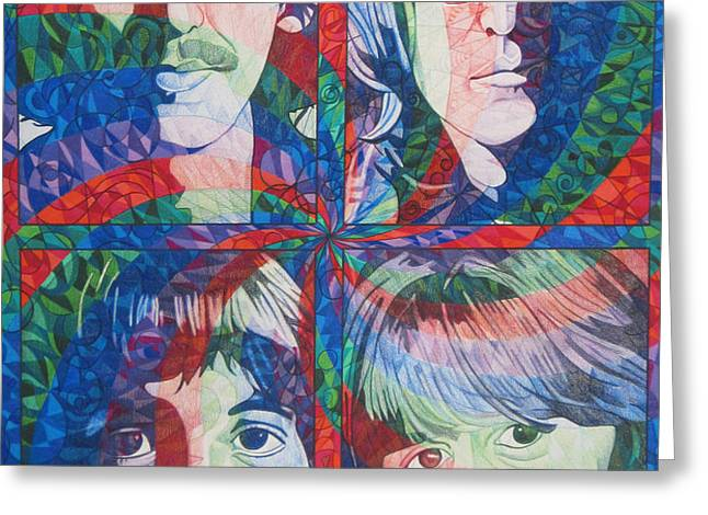 The Beatles Squared Greeting Card by Joshua Morton