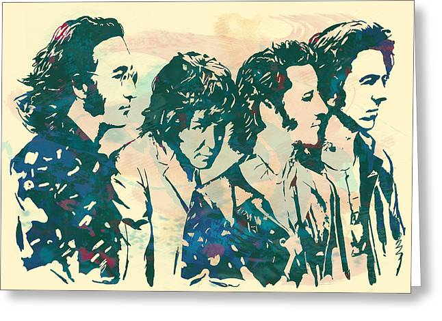 1960 Mixed Media Greeting Cards - The Beatles - stylised pop art drawing potrait poser Greeting Card by Kim Wang