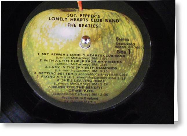 Sgt Pepper Photographs Greeting Cards - The Beatles Vinyl - Sgt. Peppers Greeting Card by Dianna Jackson