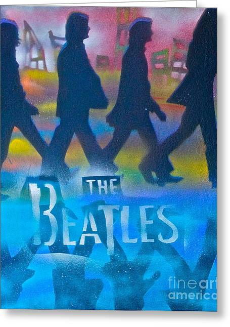 Paul Mc Cartney Greeting Cards - The Beatles Walk Greeting Card by Tony B Conscious