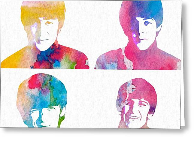 Ringo Starr Greeting Cards - The Beatles Watercolor Collage Greeting Card by Dan Sproul