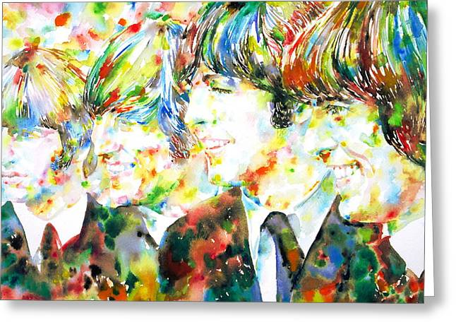 George Harrison Images Greeting Cards - THE BEATLES - watercolor portrait.2 Greeting Card by Fabrizio Cassetta