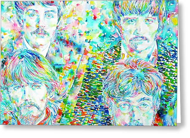 The Beatles Images Greeting Cards - THE BEATLES - watercolor portrait.1 Greeting Card by Fabrizio Cassetta