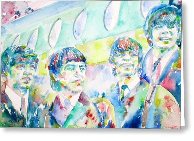 Ringo Starr Greeting Cards - THE BEATLES - watercolor portrait.3 Greeting Card by Fabrizio Cassetta