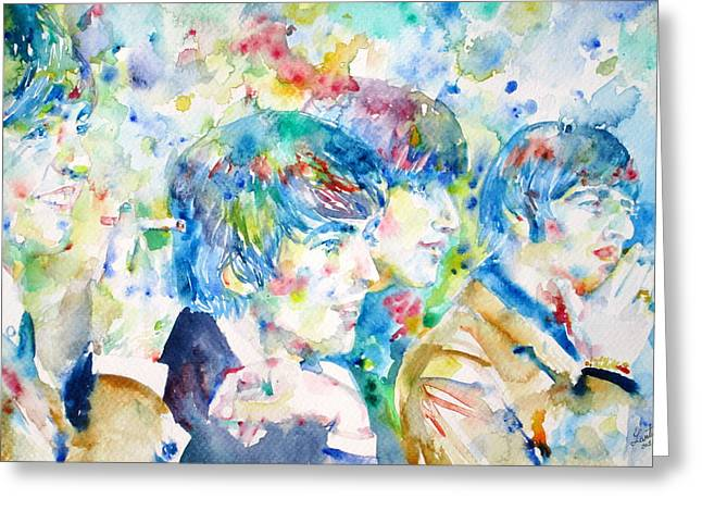 George Harrison Images Greeting Cards - THE BEATLES - watercolor portrait.4 Greeting Card by Fabrizio Cassetta