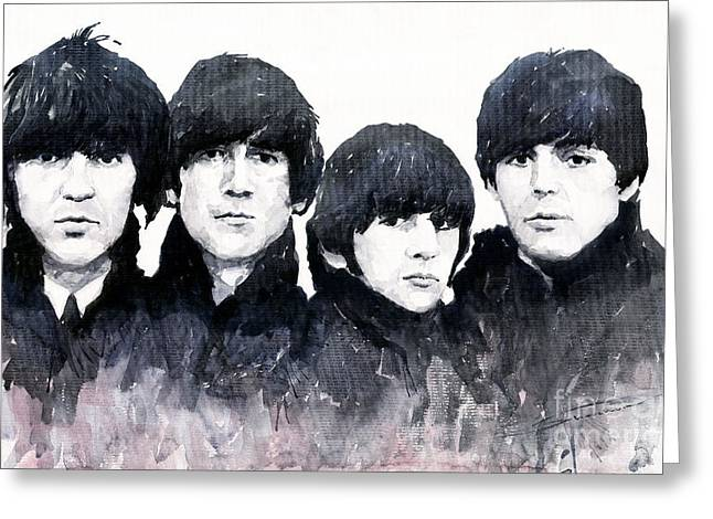 Beatles Paintings Greeting Cards - The Beatles Greeting Card by Yuriy  Shevchuk
