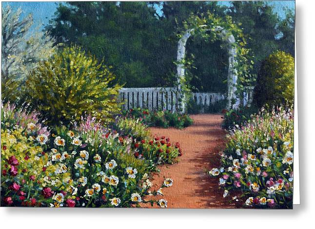 Park Scene Paintings Greeting Cards - The Beautiful Garden Greeting Card by Rick Hansen