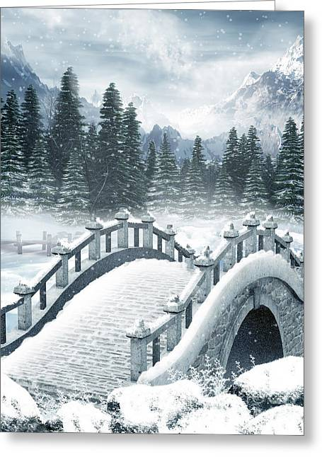 Johann Baptist Hofner Pyrography Greeting Cards - The Beautiful Gothic Winter Art Greeting Card by Boon Mee