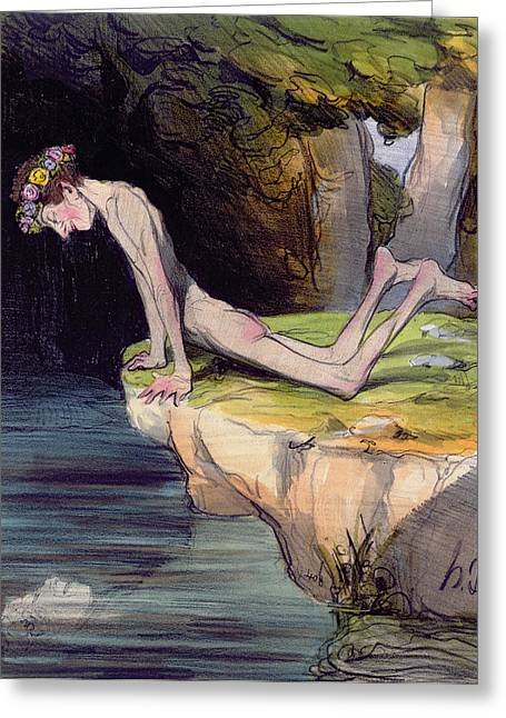 Honore Greeting Cards - The Beautiful Narcissus Greeting Card by Honore Daumier