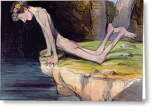 The Beautiful Narcissus Greeting Card by Honore Daumier