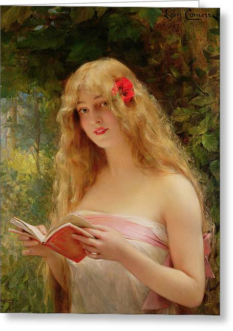 The Beautiful Reader Greeting Card by Leon Francois Comerre