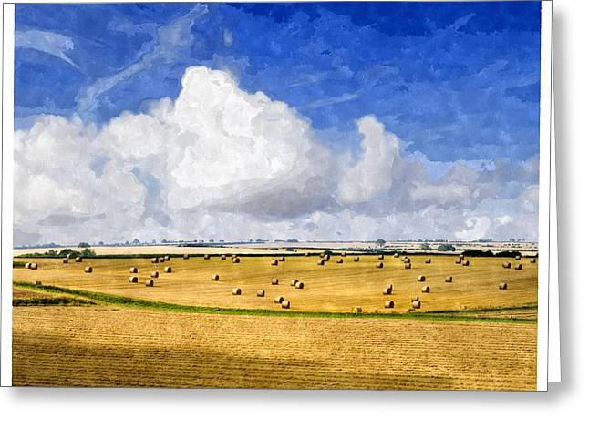 Hay Bales Greeting Cards - The beautiful rolling hills of the Lincolnshire Wolds Lincolnshire England UK Greeting Card by Jon Boyes