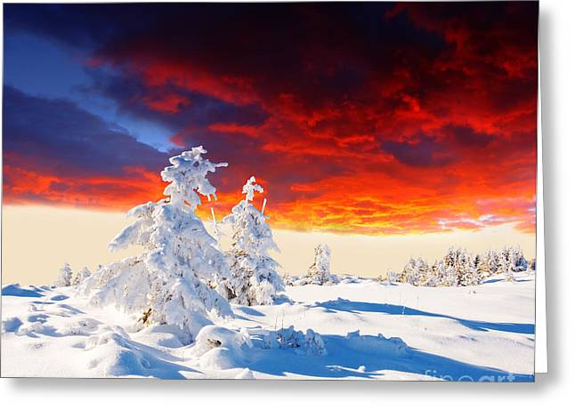 Selective Color Pyrography Greeting Cards - The Beautiful Sunset in the Winter Greeting Card by Boon Mee