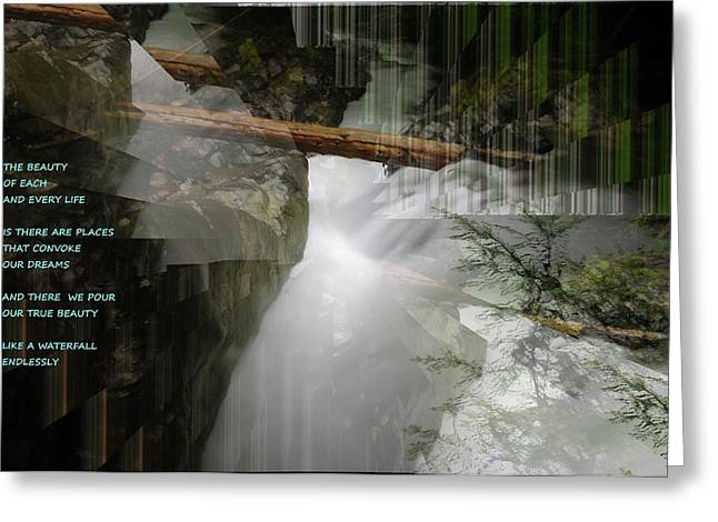 Abstract Waterfall Greeting Cards - The Beauty  Greeting Card by Jeff  Swan