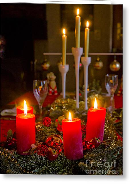 Candle Lit Greeting Cards - The Beauty Of Christmas Greeting Card by Sophie De Roumanie