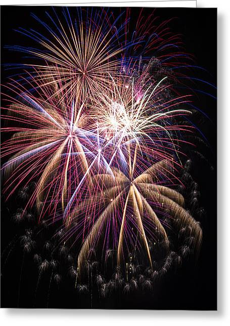 Pyrotechnics Greeting Cards - The beauty of fireworks Greeting Card by Garry Gay