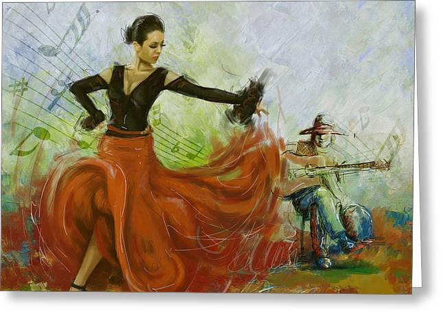 Strength Paintings Greeting Cards - The beauty of music and dance Greeting Card by Corporate Art Task Force