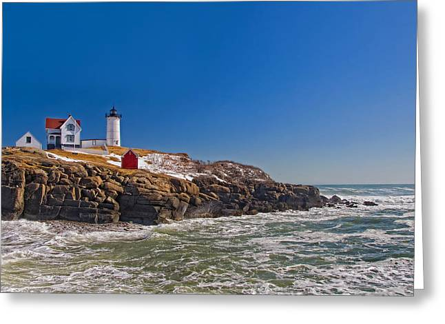 New England Lighthouse Greeting Cards - The Beauty of Nubble Greeting Card by Joann Vitali