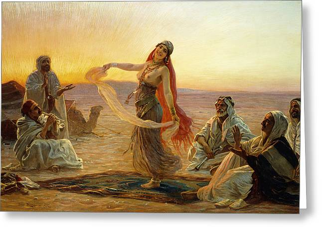 Mid-adult Greeting Cards - The Bedouin Dancer Greeting Card by Otto Pilny